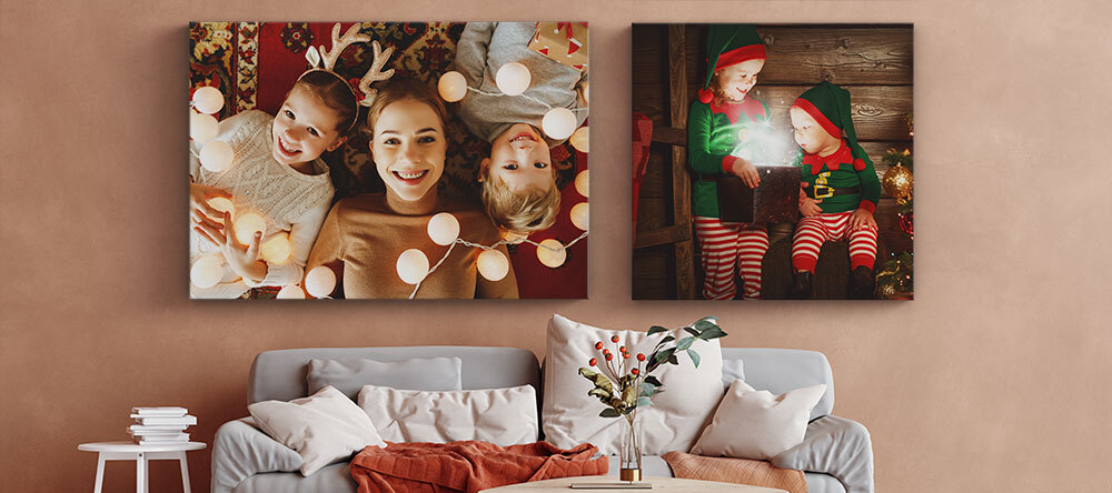 Photo Christmas Gift Finder: Custom Prints to Suit Everyone. Christmas-themed photo canvas prints.