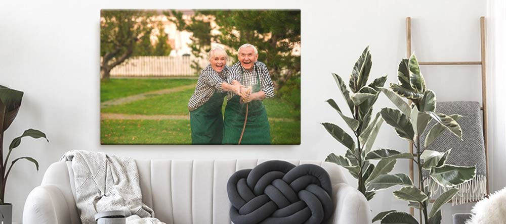 What is Gallery Wrapped Canvas? Photo of happy elderly couple on canvas.