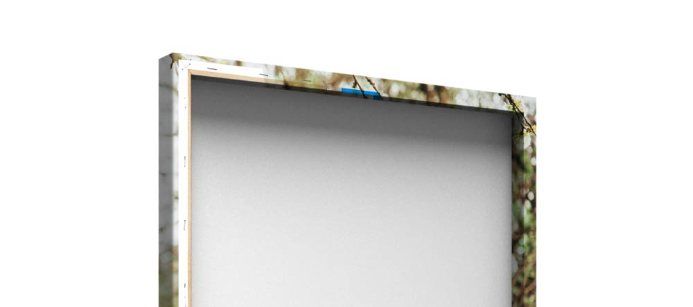 What is Gallery Wrapped Canvas? Close-up of stretched canvas print.