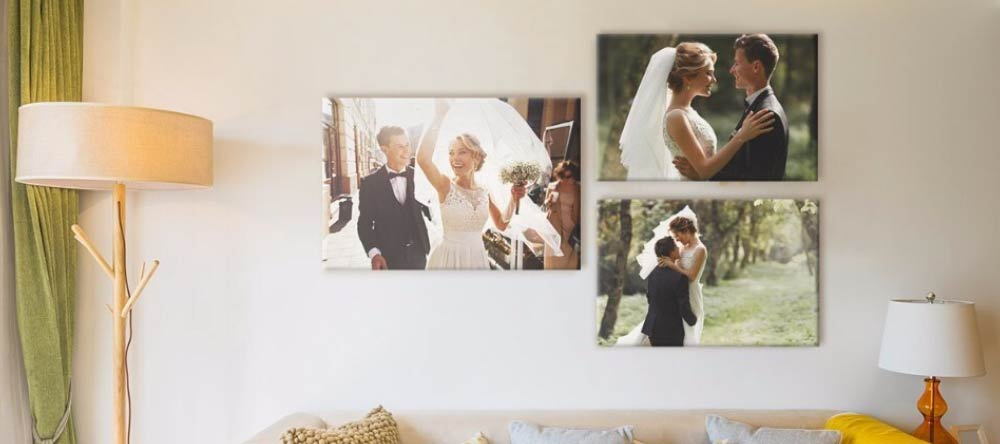 Romantic Canvas Wall Art – How to Do It Right. Canvas prints gallery wall of wedding photos.