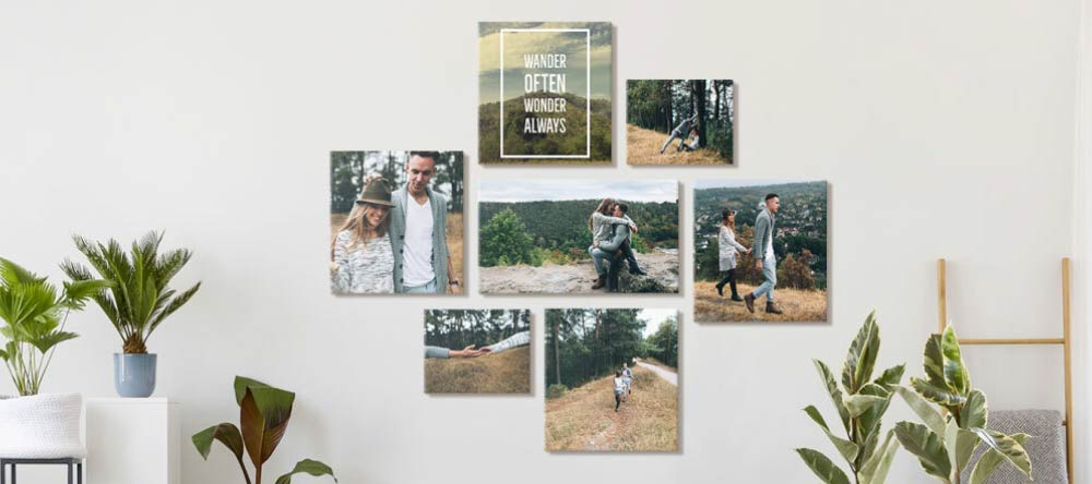 Romantic Canvas Wall Art – How to Do It Right. Canvas print gallery wall featuring photos of young couple.
