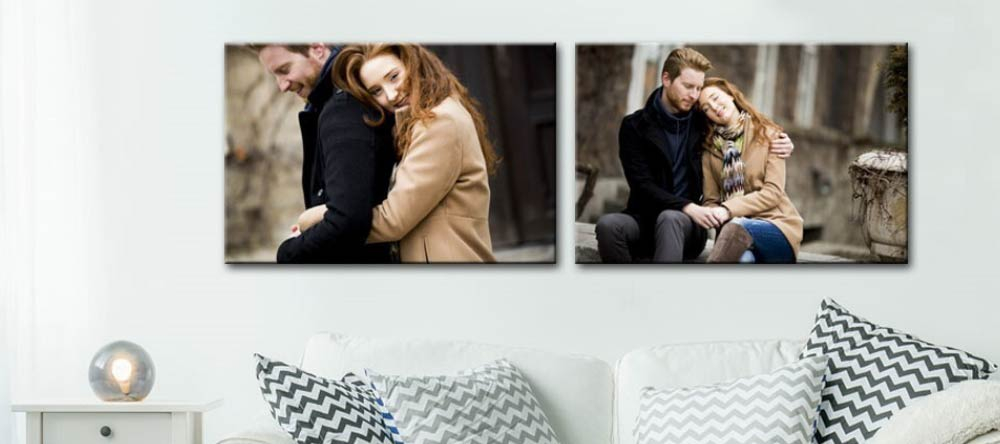 How to Clean a Canvas Print. Two canvas prints featuring photos of couple.