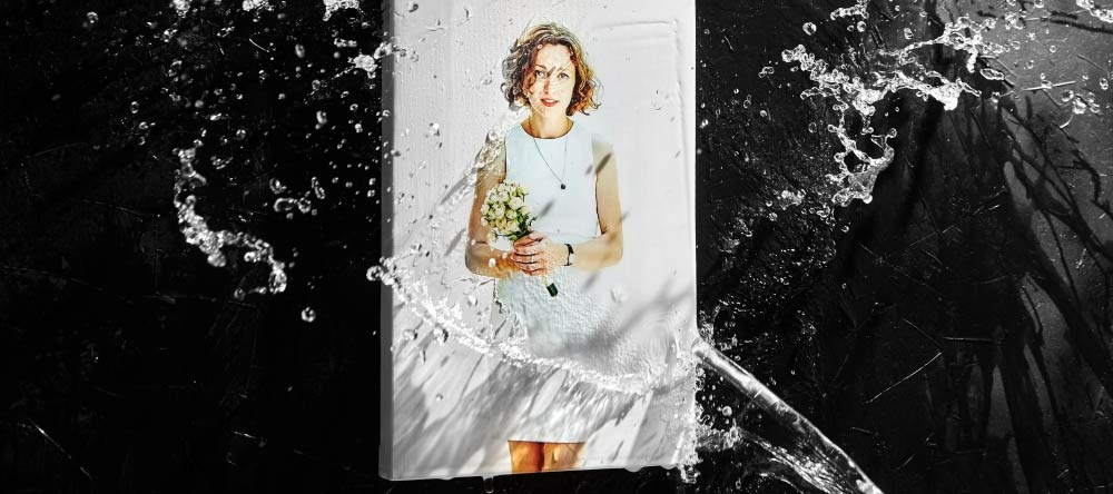 How to Clean a Canvas Print. Photo canvas print splashed with water.