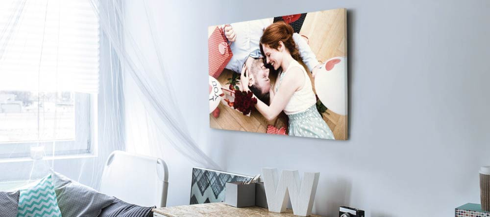 What is a Canvas Print? Beautiful photo canvas print of young couple.