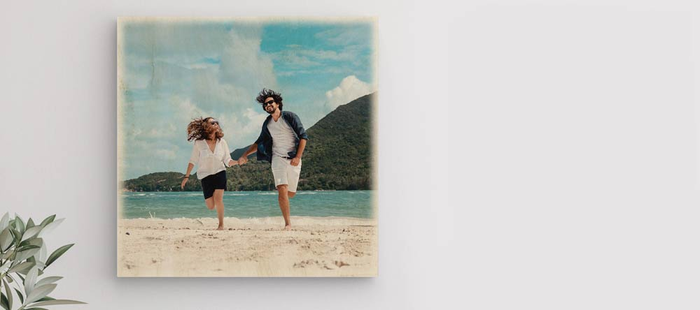 How To Transfer A Picture To Wood: Visual Guide. Beautiful photo print on wood featuring happy couple.
