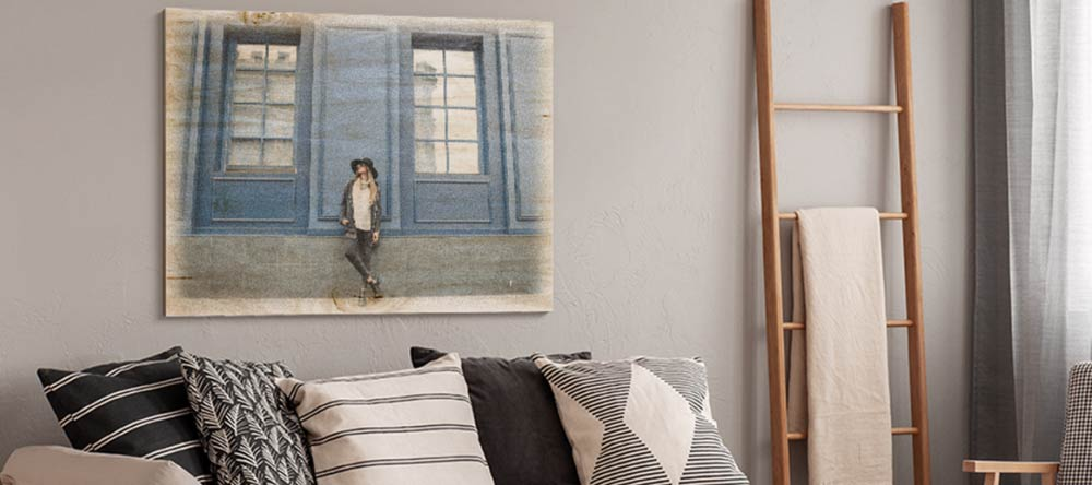 How To Transfer A Picture To Wood: Visual Guide. Photo print on wood in living room.