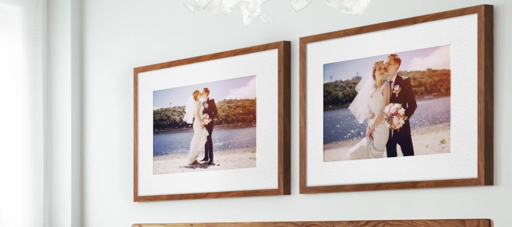 Where to Get Framed Wall Pictures for Living Room: High-Quality Prints in Minutes. Framed Prints with couple wedding photos.