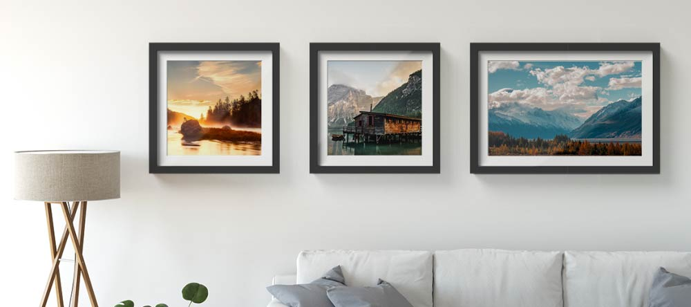 Where to Get Framed Wall Pictures for Living Room: High-Quality Prints in Minutes. Gallery wall with three beautiful framed prints.