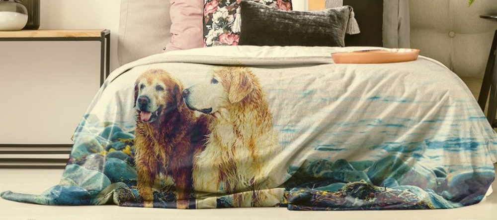 Latest lifestyle trend personalised photo blanket. Photo blanket with two dogs.