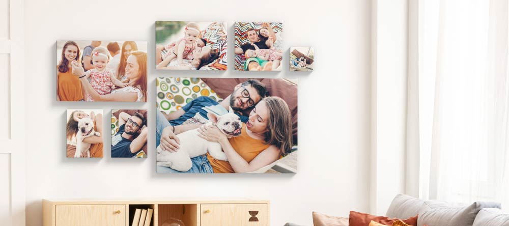 Where to Print Pictures Near Me. Gallery wall of multiple canvas prints.