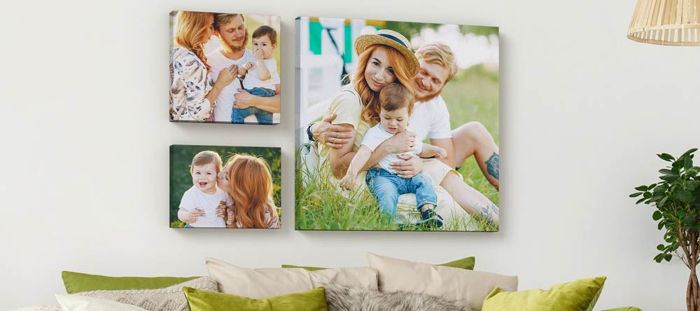 Acrylic vs Canvas Prints: Which is Better? Lovely canvas gallery wall featuring family photos.