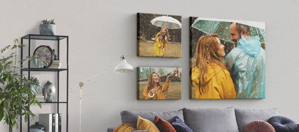 Acrylic vs Canvas Prints: Which is Better? Beautiful Gallery Wall of Multiple Canvas Prints.