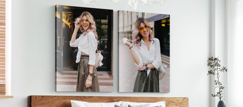 Acrylic vs Canvas Prints: Which is Better? Two beautiful photo acrylic prints displayed above bed.