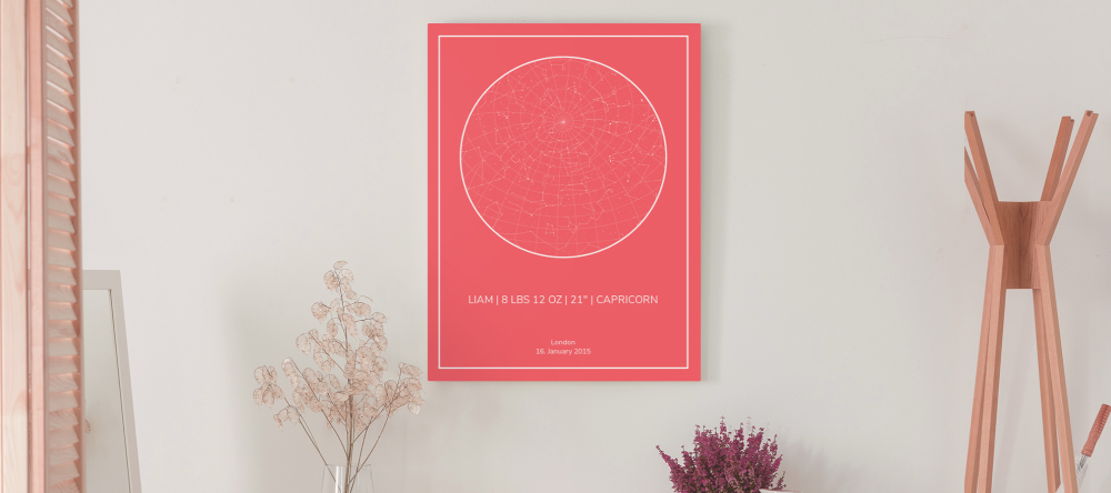Personalised Star Map: A Stunning New Gift Idea. A personalised star map print hanging on wall.