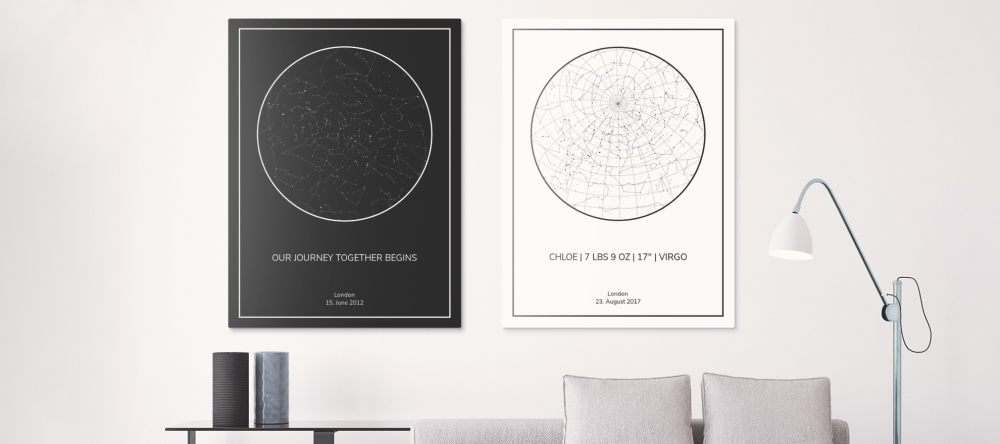 Personalised Star Map: A Stunning New Gift Idea. Two black and white star map prints on wall.