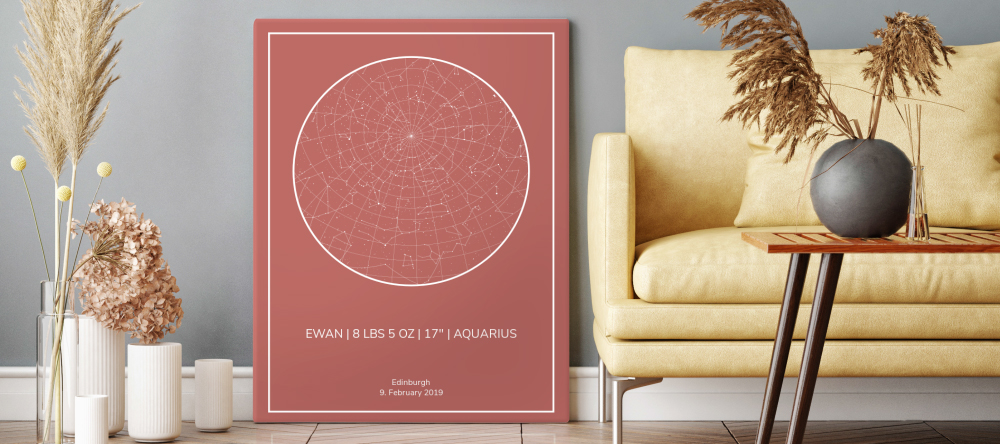 What do you take to a baby shower. Print showing constellations next to a sofa.