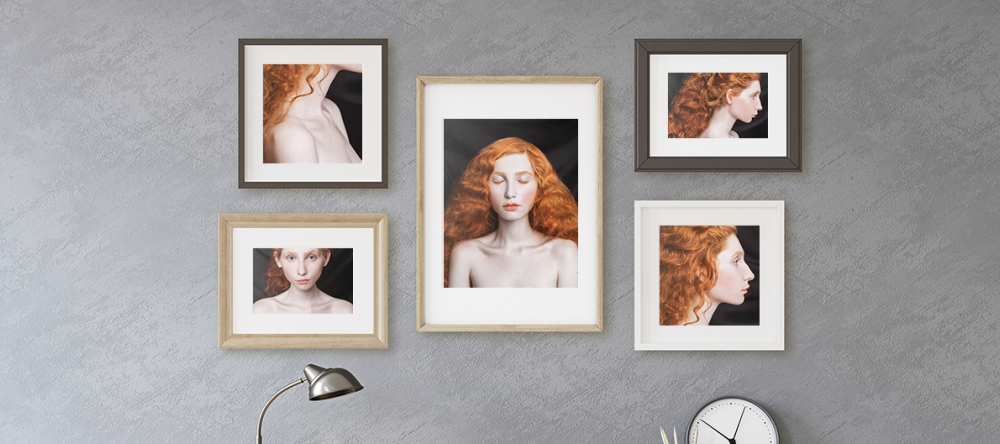 Gallery style picture walls. Artistic photo prints displayed in collage.