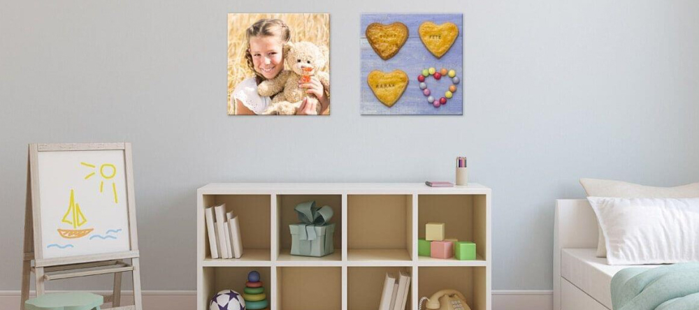 7 rules for matching wall decor. Photo canvas prints with girl and her toy bear.