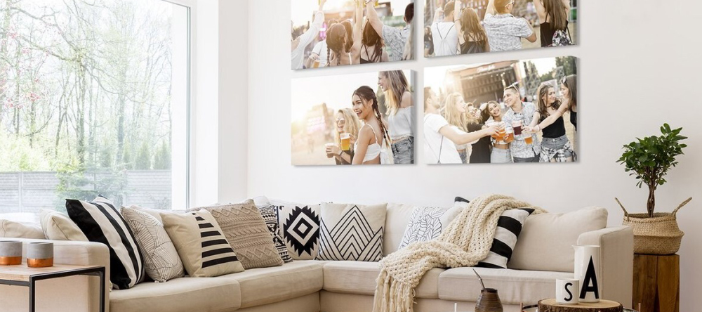 7 rules for matching wall decor. Galley wall with multiple canvas prints with photos from music festival.